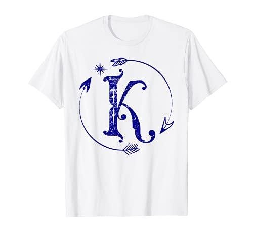 Letra K Monogram Boho Retro Vintage con nombre gráfico Letra K Camiseta