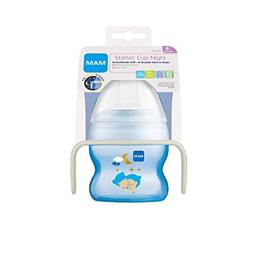 MAM Starter Cup Night Baby - Bicchiere per imparare a bere (150 ml), borraccia per i primi tentativi di bere, con manici luminosi e antiscivolo, a partire dai 4 mesi – Istruzioni in lingua straniera