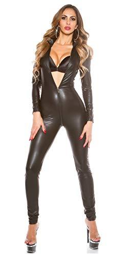 PQQ Body Mujeres Teddy Bodies De Charol Erótico Bodysuit Latex Cremallera Ropa Interior Sexy Leotardo Traje De Noche Club Misteriosa (Color : Black, Size : XL)