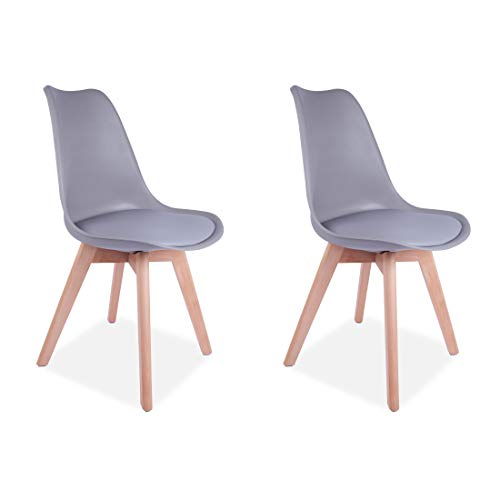 All About - Juego de 2 sillas de Comedor con Patas de Madera Maciza Acolchadas de Poliuretano, Color Gris Claro