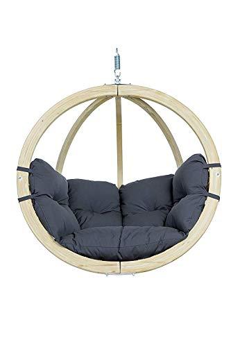 AMAZONAS Hängesessel in edlem Design Globo Chair Anthracite aus FSC Fichtenholz wetterfest bis 120 kg in Dunkelgrau