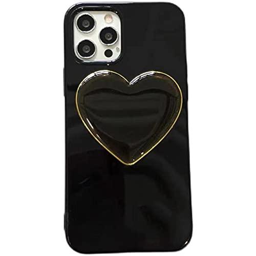Funda de teléfono de TPU Suave y Brillante con Soporte de corazón de Amor clásico de Lujo para iPhone 11 12 Mini Pro MAX X XS XR 7 8 Plus Funda de Moda, Negro, para iPhone 7