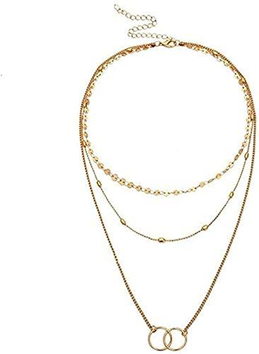 ZGYFJCH Co.,ltd Collar de Moda Bohemia Larga Capa de Lentejuelas Cuentas metálicas Hebilla Colgante Cadena Collares para Mujer joyería Boho