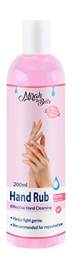 Mirah Belle - Hand Rub Sanitizer (200 ML) - FDA Approved (72.9% Iso Propyl Alcohol) - Vegan, Cruelty Free - Best for Men, Women and Children - Sulfate and Paraben Free Hand Cleanser