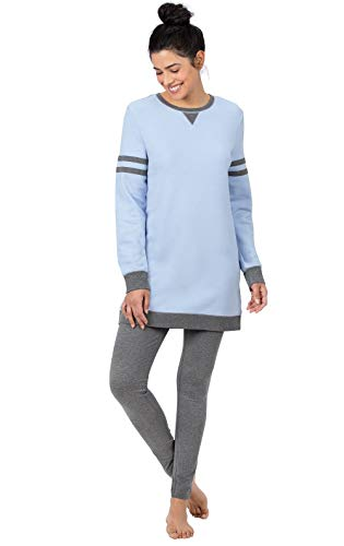 PajamaGram Pajama Leggings for Women - Womens Pajama Sets, Blue, L 12-14
