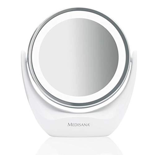 Medisana CM 835 runder Kosmetikspiegel - Tischspiegel mit LED-Beleuchtung und 5-facher Vergrößerung - Schminkspiegel mit 360° Schwenkfunktion