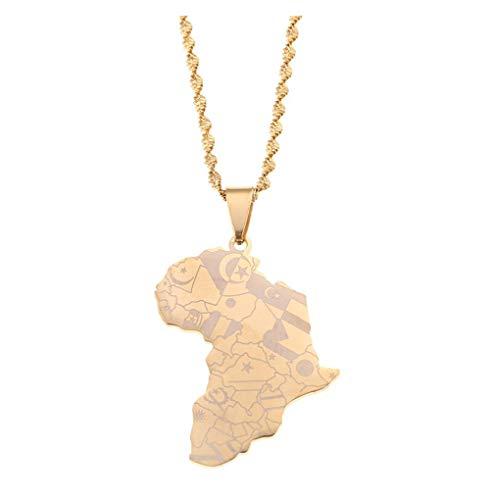 Collar con colgante de mapa africano de acero inoxidable, patrón de símbolo étnico, joyería de encanto de Hip Hop africano, color dorado Collar para mujer con mapa del mundo