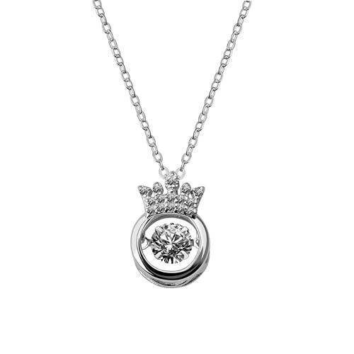 XIGAWAY Collar de cobre con incrustaciones de circonio imitación cristal corona colgante señora collares