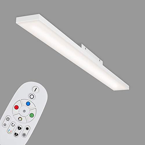 Briloner Leuchten - LED Panel, LED Deckenlampe dimmbar, rahmenlos, Farbtemperatursteuerung, RGB, inkl. Fernbedienung, 24 Watt, 2.900 Lumen, Weiß, 1195x100x57mm (LxBxH), 7349-316