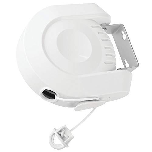 mDesign Tendedero extensible – Tendedero de pared para interior y exterior – Colgador de ropa extensible hasta 11,8 m para el baño, lavadero, jardín o de viaje – blanco