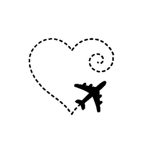 GQQ auto sticker 15.5Cm*13.9Cm vliegtuig tekenen een hart Swirl liefde zoete Vinyl motorfiets auto Sticker Decal grafische 2 stuks Zwart