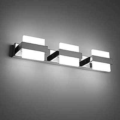 Combuh LED Bathroom Vanity Light 3 Lights Wall Light 20 Inch 18W Mirror Lighting Fixture Indoor Wall Lamp Modern Cool White 6000K for Bathroom