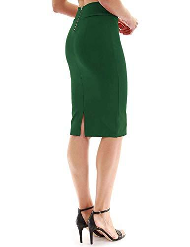 FAIMILORY Womens Stretch High Waisted Bodycon Office Pencil Skirt (S, Green)