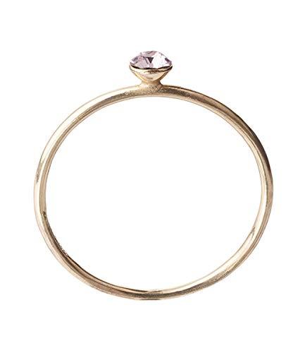 SIX Vergoldeter Ring aus 925er Silber mit rosafarbenen Glitzer-Kristallen Größe: 52 (728-861)