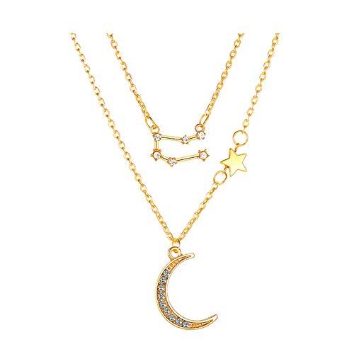 Hunpta - Collar de doble capa para mujer, diseño de luna y estrella de doce constelaciones, collares personalizados para cumpleaños, bodas y fiestas