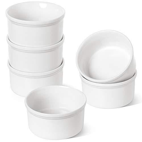 LE TAUCI Ramekin 6 oz x 6 PCS, Bakeware Set for Baking, Ramekins for Creme Brulee, Lava Cakes, Pudding, Custard Cups, Souffle, Pot Pie, Dip Sauce, Sleek White