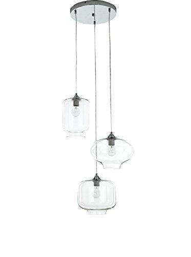 Wink Design Saky Clear Lampadario 3 Luci E27, 40 W, Bianco, vetro