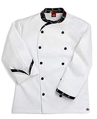 Dickies Chef Coat Contrast Trim Jacket, Peppers Pattern, XX-Large