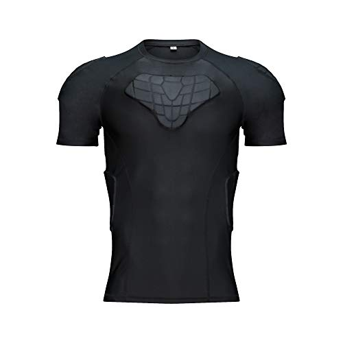 DGXINJUN Body Safe Guard Padded Compression Shirt Sports Short Sleeve Protective T-Shirt Shoulder Rib Chest Back Protector Pads Support Shirt for Football Basketball Paintball Rugby Exercise …