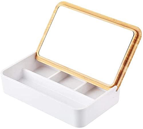 Joyero Flip con espejo caja de joyería caja de almacenamiento de joyería pendientes anillo collar pendientes reloj acabado estante joyería caja de almacenamiento