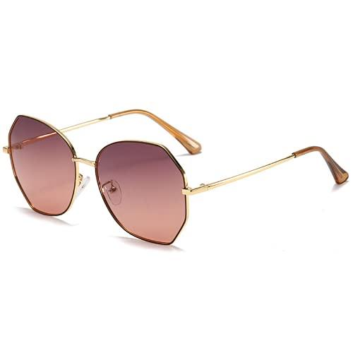 Señoras nuevas gafas de sol, gafas de sol polarizadas metal, gafas de sol UVresistantes de marco grande para mujer, gafas adecuadas para actividades al aire libre y conducción