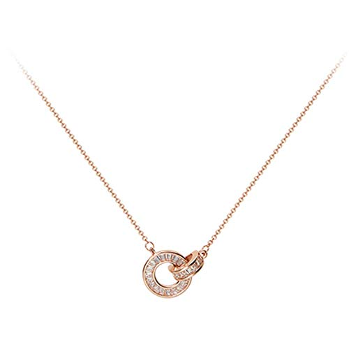 Rose gouden Romeinse ring ketting hanger eenvoudige mode retro vrouwelijke persoonlijkheid