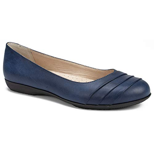 CLIFFS BY WHITE MOUNTAIN Shoes Clara Women's Flat, Navy/Burnished/Smooth, 9H W