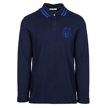 Versace Jeans Men s Blue Pique Long Sleeve Logo Polo T-Shirt  L