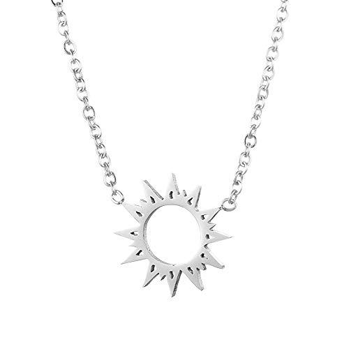 Tara, collana con ciondolo a forma di sole della vita, in acciaio inox, argento e oro rosa e Acciaio inossidabile, colore: argento, cod. 4053565584788