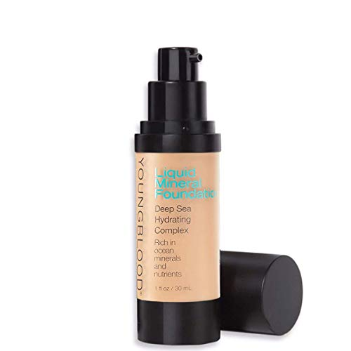 Youngblood Clean Luxury Cosmetics Liquid Mineral Foundation, Bisque | Dewy Mineral Lightweight Full Coverage Makeup for Dry Skin Poreless Flawless Tinted Glow | Vegan, Cruelty Free, Gluten-Free