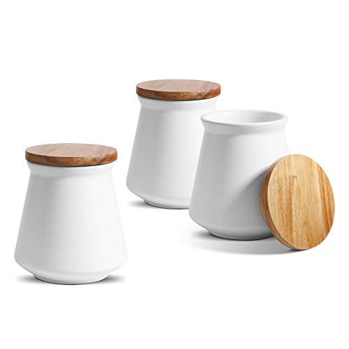 ComSaf Ceramic Food Storage Canister with Airtight Wood Lid 27oz800ml White Food Storage Jar Container with Seal Bamboo Lid for Kitchen Pantry Serving Tea Coffee Sugar and Spices Set of 3