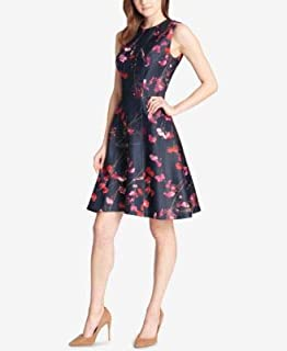 TOMMY HILFIGER Womens Navy Floral Scuba Sleeveless Jewel Neck Above The Knee Fit + Flare Party Dress US Size: 6