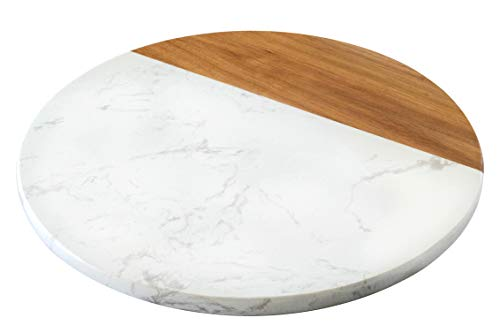 "KŌRE LIVING White Marble and Acacia Wood Cheese Board - 12"" Serving Platter for Charcuterie - Marble Pastry Board - Round Cutting Board - Cheese Tray"