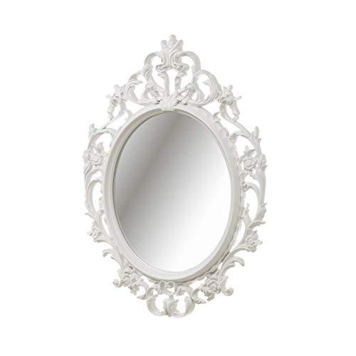 pequeño y compacto Espejo clásico de plástico blanco del tesoro 53 × 38cm – LOLAhome