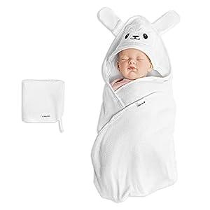 Navaris Toalla bebé con capucha - Set 1x poncho de baño hecho de bambú y 1x paño para niño recién nacido 0-12 M - Certificado Oeko-Tek - Oveja