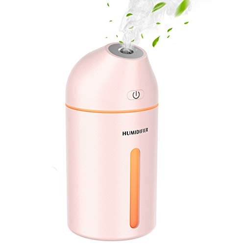 Homasy Luftbefeuchter,320 ml tragbarer Mini-Luftbefeuchter,mit kühlem Nebel, USB Luftbefeuchter für Auto Baby Schlafzimmer Reisebüro,19dB, 2 Nebelmodi, bis zu 8 Stunden-Rosa