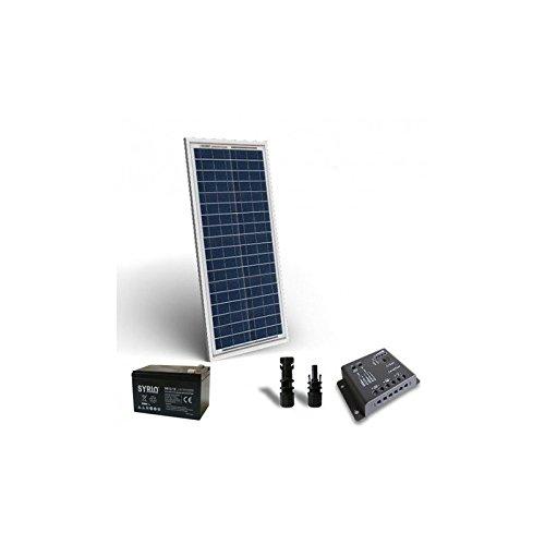 PuntoEnergia Italia - Kit Solare Pro 30W 12V Pannello Fotovoltaico Regolatore 5A PWM Batteria 12Ah 12V - KSP-30-12-B12