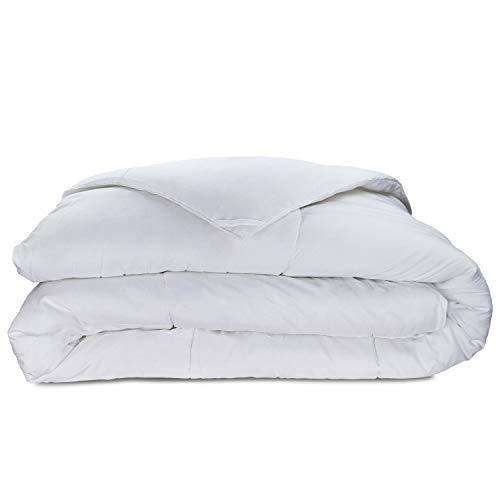 Cosy House Collection Luxury Bamboo Down Alternative Comforter - Plush Microfiber Fill - Machine Washable Duvet Insert - White - Full/Queen