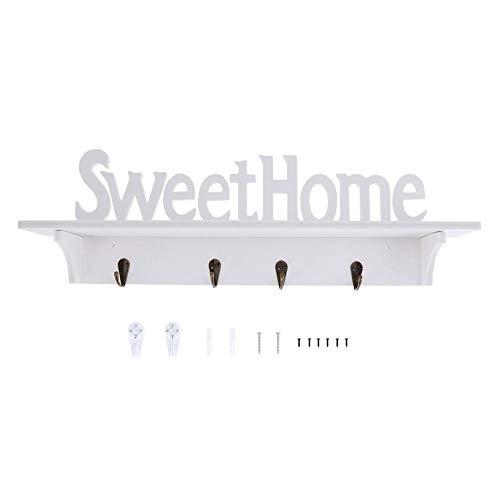 TOPINCN wandgemonteerde rekken eenvoudige witte houten gesneden muur plank display opknoping rack opslag rack huisdecoratie