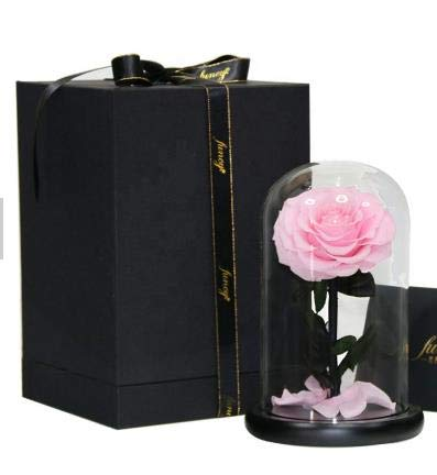 Eternal Pink Rose Preserved Flower Gift and LED Light in Glass Dome Lampshade Creative Romantic Decor - for Valentine's Day, Mother's Day, Birthday Present and Wedding Gift for Lovers and Friends.