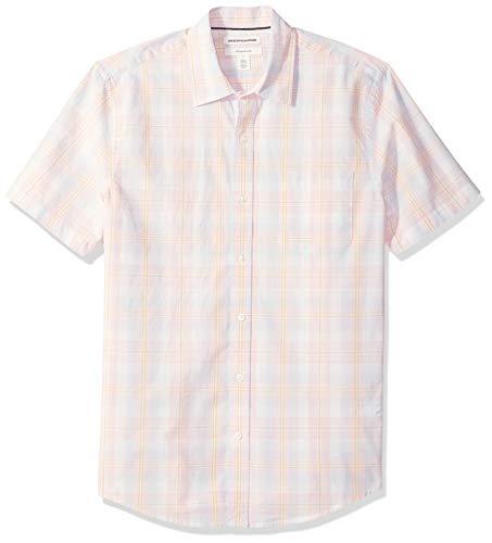 Amazon Essentials Chemise décontractée à manches courtes en popeline, coupe ajustée, pour homme, Pink/White Plaid, US S (EU S)