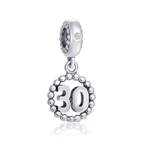 Choruslove - Abalorio de plata de ley 925 con diseño de símbolo del hito de la suerte, con incrustaciones de circonitas