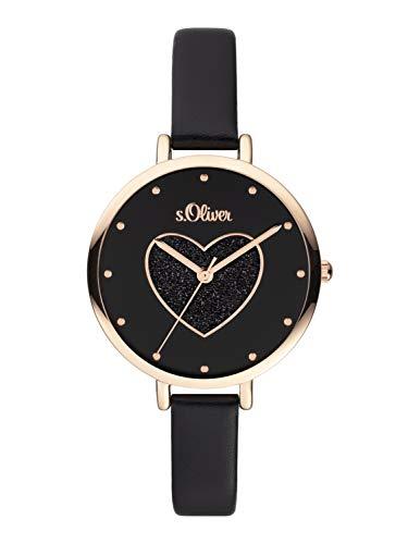 s.Oliver Damen Analog Quarz Uhr mit Leder Armband SO-3833-LQ
