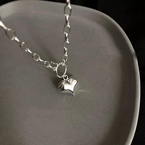 Collar con colgante de mujer Collar con forma de corazón de amor para mujer cadena de cierre OT collar de plata para mujer regalos de joyería Regalos para esposa madre y novia regalo de cumpleaños