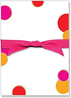 Red & Pink Polka Dot Designer Note Pad with Magenta Grosgrain Ribbon, Premium Quality 50 Tear Off Sheets 5 x 7 Inches, Err...