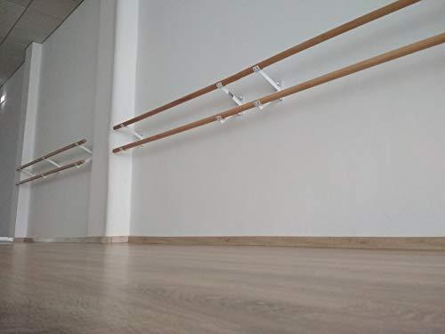 Artimex Barra de Ballet Doble con Soporte de Pared para Ballet, Danza, rehabilitación y Gimnasia, 2,5 m, código 113