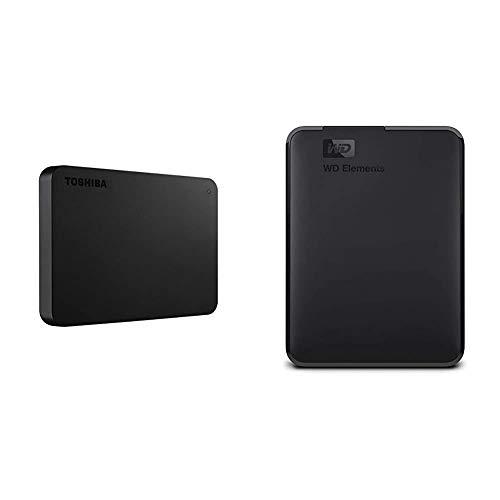 Toshiba (HDTB420XK3AA) Canvio Basics 2TB Portable External Hard Drive USB 3.0, Black & WD 2TB WD Elements Portable External Hard Drive, USB 3.0 - WDBU6Y0020BBK-WESN