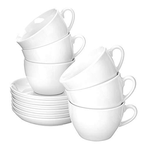 Esmeyer Bistro - Set da 6 Tazze per Cappuccino 0,30 l, con piattini Forma Bistro - Bianco Manico a Forma Rotonda, Altezza 7,2 cm, Diametro 15,7 cm