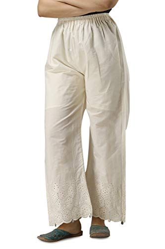 FABRIC FITOOR Women's Cotton Solid Straight Palazzo (Off-White)