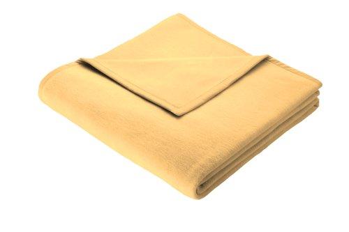 Biederlack Wohn- und Kuscheldecke, 100 % Baumwolle, Samtband-Einfassung, 150 x 200 cm, Gelb, Cotton Pure, 239664